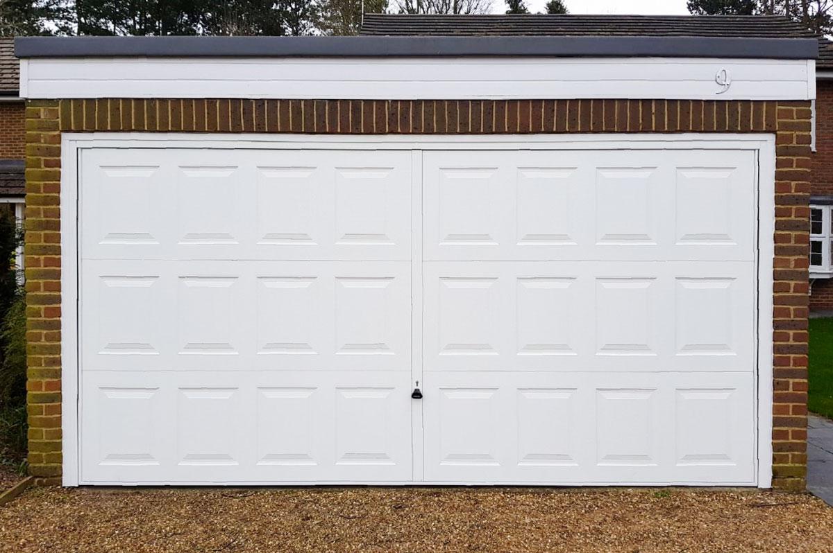 "Garador Georgian Double Retractable Garage Door finished in ""Traffic White"""