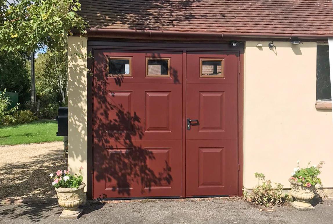 Garador Beaumont 1/3rd Split Side Hinged Garage Doors, Finished in Burgundy Brown
