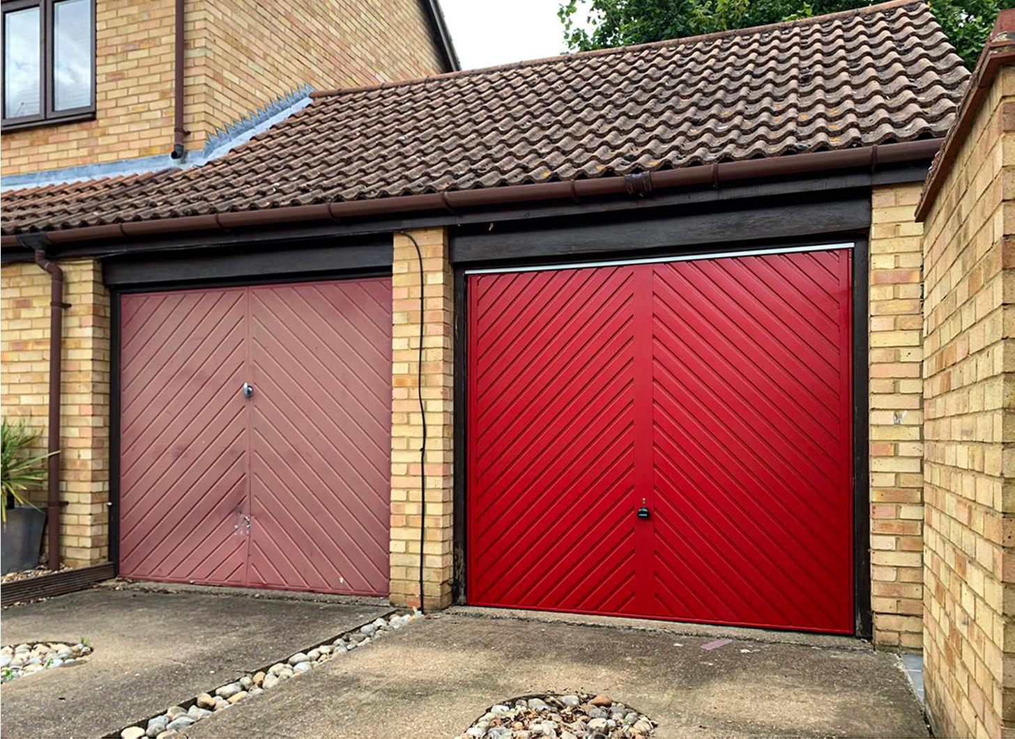 Garador Steel Chevron Canopy Up & Over Garage Door Finished in Ruby Red