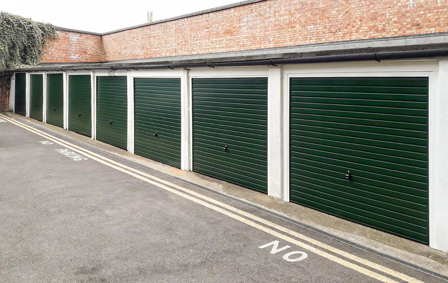 Garador Horizon Steel Up & Over Garage Doors Finished in Fir Green