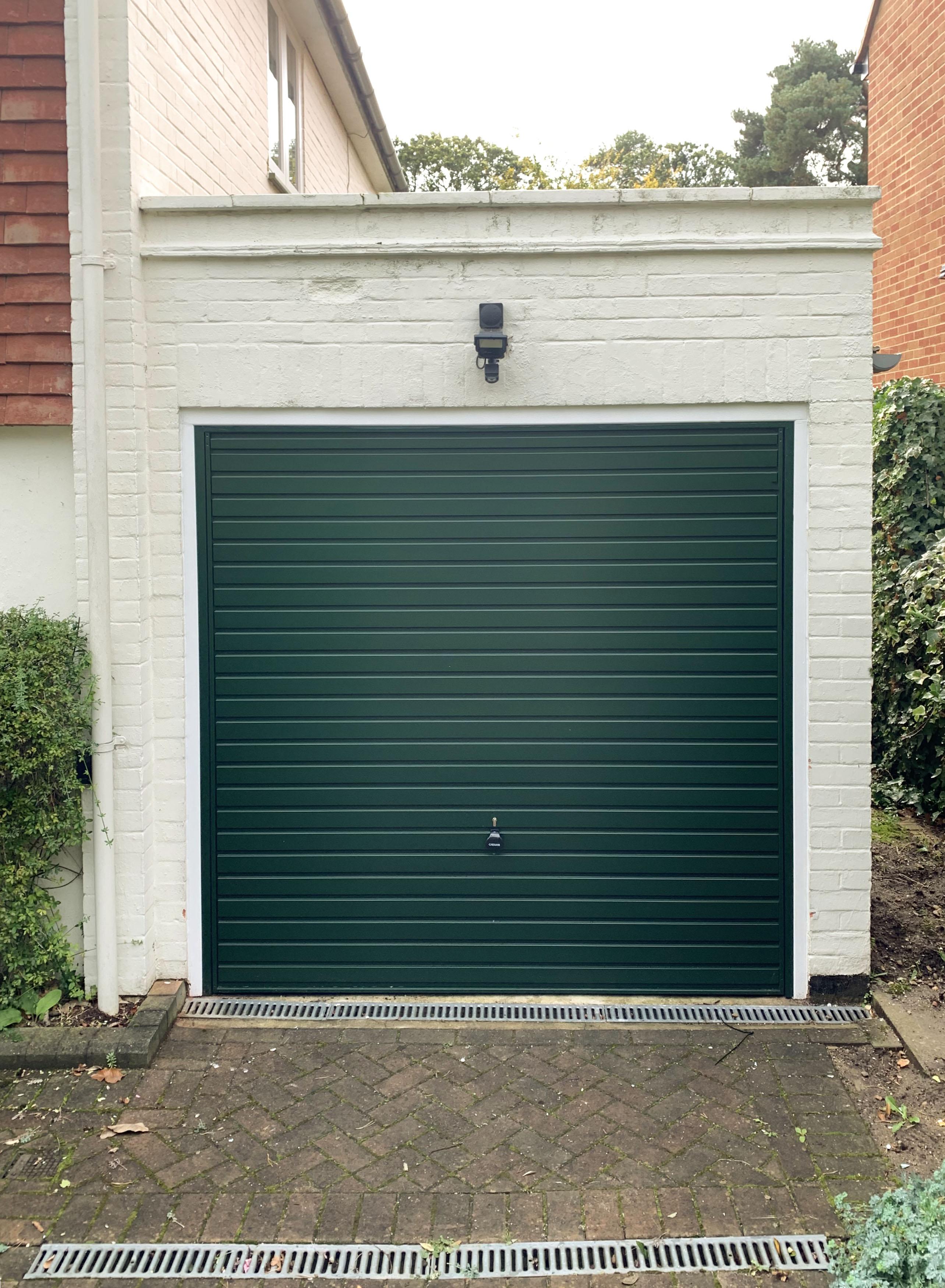 Hormann Steel Up & Over Horizontal Garage Door Finished in Moss Green