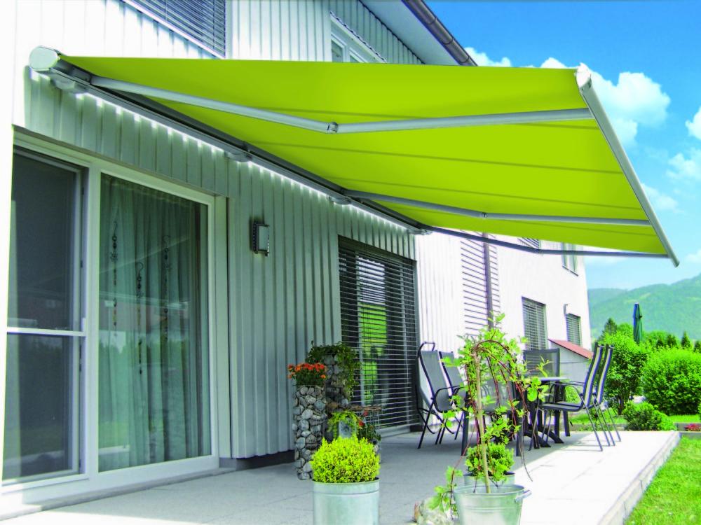 Markilux 6000 awning metallic RAL 7016 frame blue & white stripe fabric